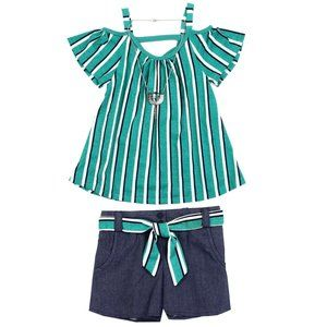 🎁RMLA Girls Size 8 2PC Short Set W/Necklace Jade.